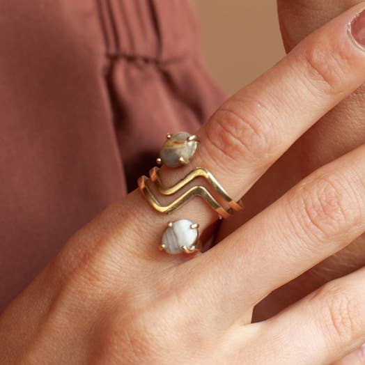 Handmade ring featuring lace agate stones. Brass, two crazy lace agate stones, because stones are natural, pattern and color vary.