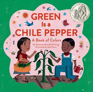Green is a chile pepper, spicy and hot is a book for children about colors. Green is cilantro inside our pot. In this lively picture book, children discover a world of colors all around them: red is spices and swirling skirts, yellow is masa, tortillas, and sweet corn cake. Many of the featured objects are Latino in origin, but all are universal in appeal.