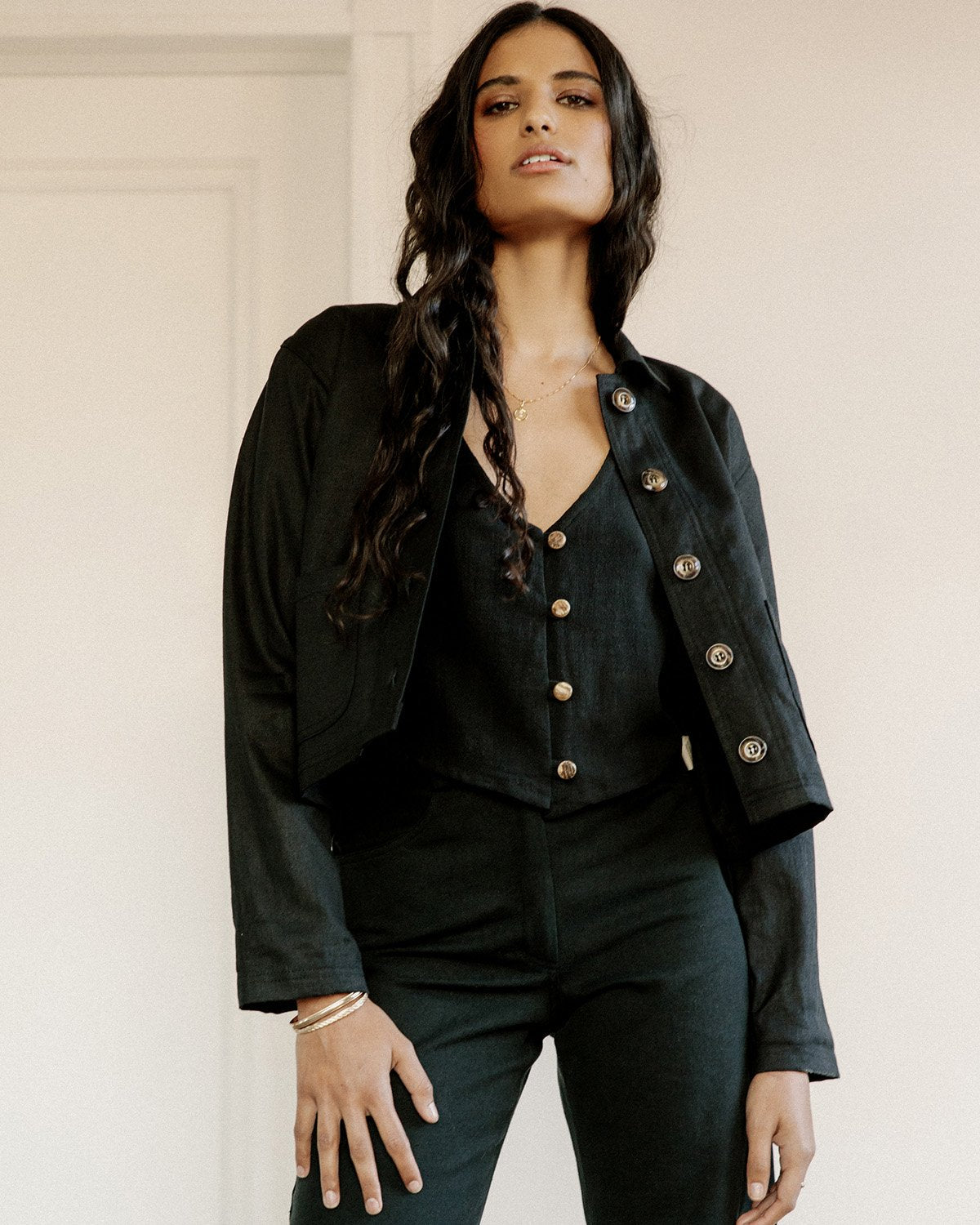 the pierrot jacket in black by harly jae is a cropped denim jacket made ethically in Vancouver, BC