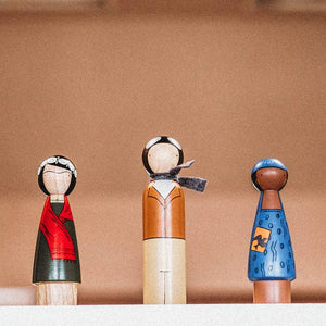 Handmade, classic wooden dolls hand-painted with USA-made non-toxic water-based paints. Choose from Malala, Rosie the Riveter, Amelia Earhart, and Frida Kahlo. Hand-chiseled from sustainably-harvested, Urapan wood in Bogota, Colombia. For each tree harvested, two more are planted. Each doll is entirely unique and safe for little hands. Dolls are certified fair trade and designed in Brooklyn, NY.