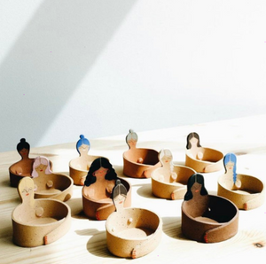 Handmade ceramic treasure keepers by Julia Ballenger to display your favorite little trinkets.