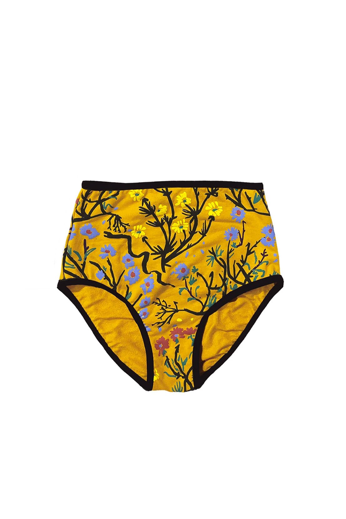 High rise underwear in the marigold uprooted pattern from thief an bandit made from a cotton and bamboo blend and non toxic inks