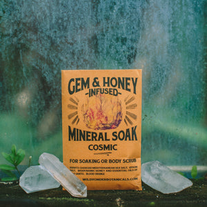 Gem and honey infused mineral soak. Multi-sensory botanical self care for soaking or to be used as a scrub. A mixture of crystal quartz charged sea salt, epsom salt, bio dynamic honey and organic essential oils and resins.