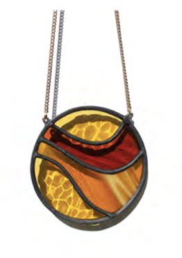 "Open image in slideshow, Handmade stained glass wall or window hanging. Groovy. Measures 3.5"" x 3.5"" not including chain. Arrives ready to hang. Chain measures 8"". Available in shades of ochre and rust or blues."