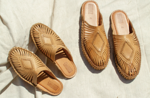 This diamond-centric handwoven leather slide style evolved in Athani, Northern Karnataka, India. Each pair is made by master shoemakers in the shoes' town of origin.