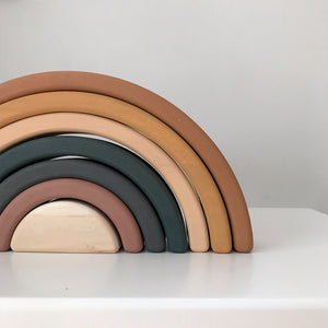 Handmade wooden rainbow made from linden tree wood and covered with non toxic water based paint. Minimal design and environmentally friendly, creates countless options for play.
