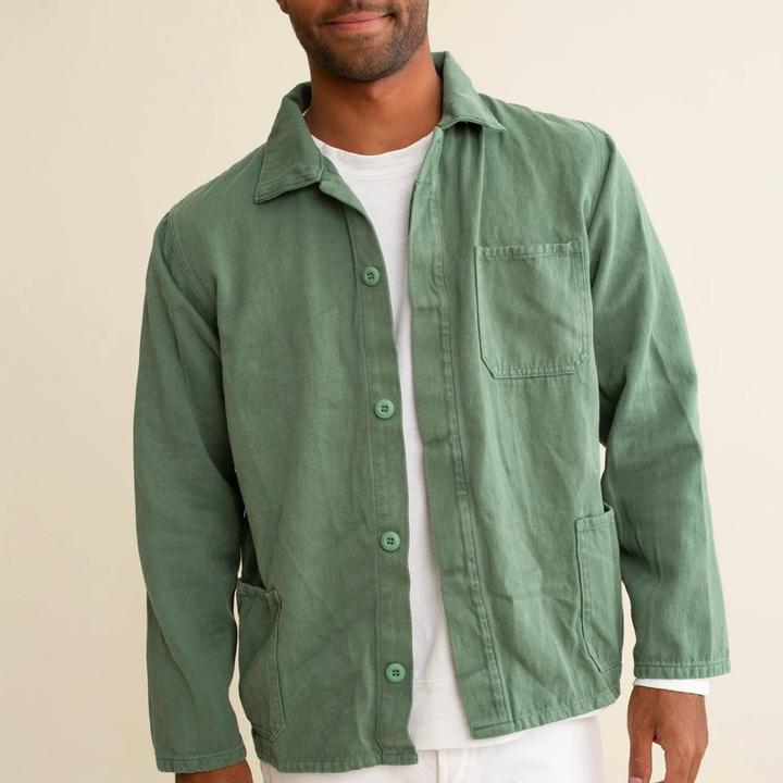 The Olympic Jacket made from hemp and cotton  is the Jungmaven equivalent of a French Work Coat. Wear it as a shirt or jacket. The button front wind shielding fabric keeps warmth in and cold out, and is built to stand the test of time. Made in the USA with quality, globally sourced materials.