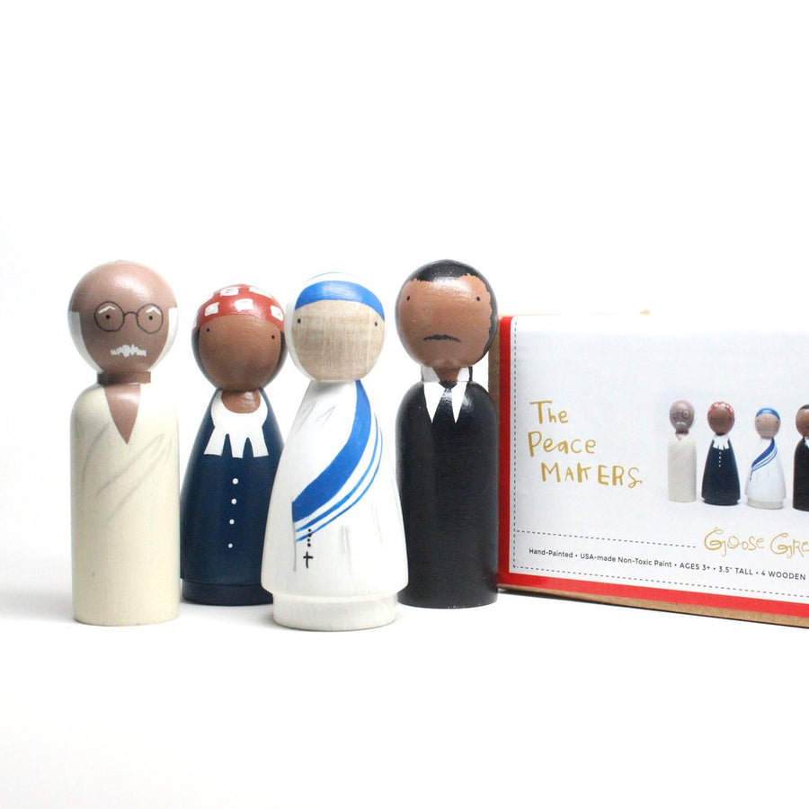 Handmade, classic wooden peg dolls hand-painted with non-toxic paints. The Peace Makers set includes artistic representations of Gandhi, Harriet Tubman, Mother Teresa, and Martin Luther King, Jr.  Includes four 3.5