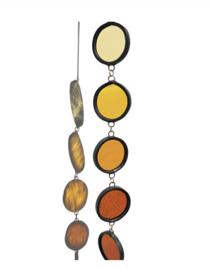 "Open image in slideshow, Handmade stained glass wall or window hanging. Beautiful pops of color to bring into your space. Let the sun shine in. Measures approximately 11"" x 1.75"" not including chain length. Arrives ready to hang."