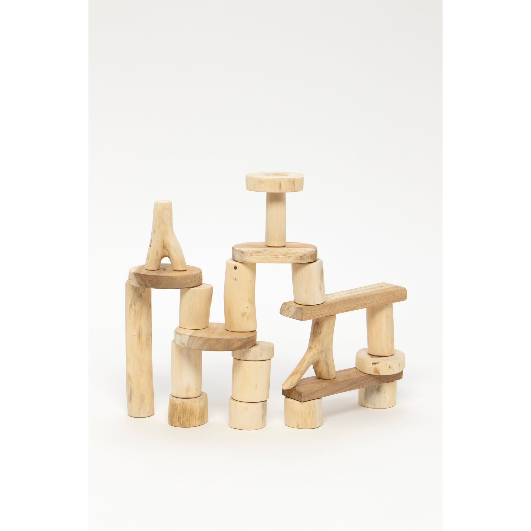 Sustainably made tree blocks for building imagination and fun. Made from reclaimed, recycled and sustainably harvested wood in Vietnam in ethical working conditions. This set of classic building blocks has 21 pieces and is the perfect open-ended toy.