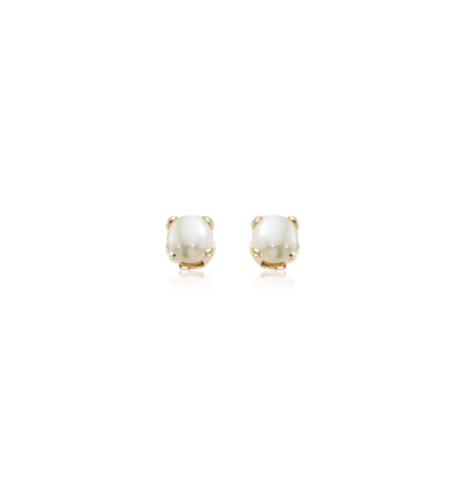 Tiny Classic Cultured Pearl Prong Set Gold Stud Earrings