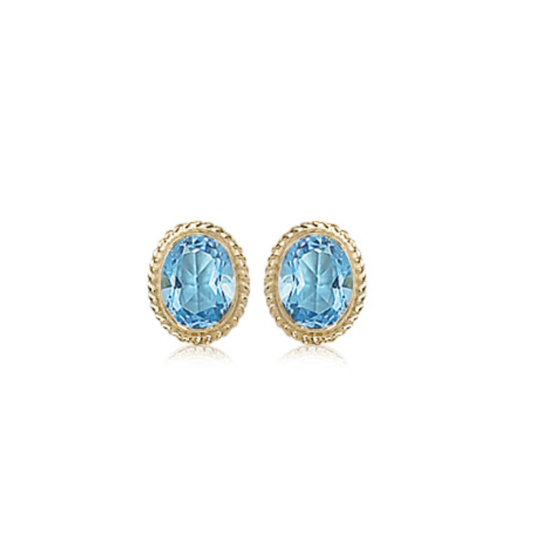 8x6mm Twisted Edge Bezel Set Blue Topaz Stud Earrings