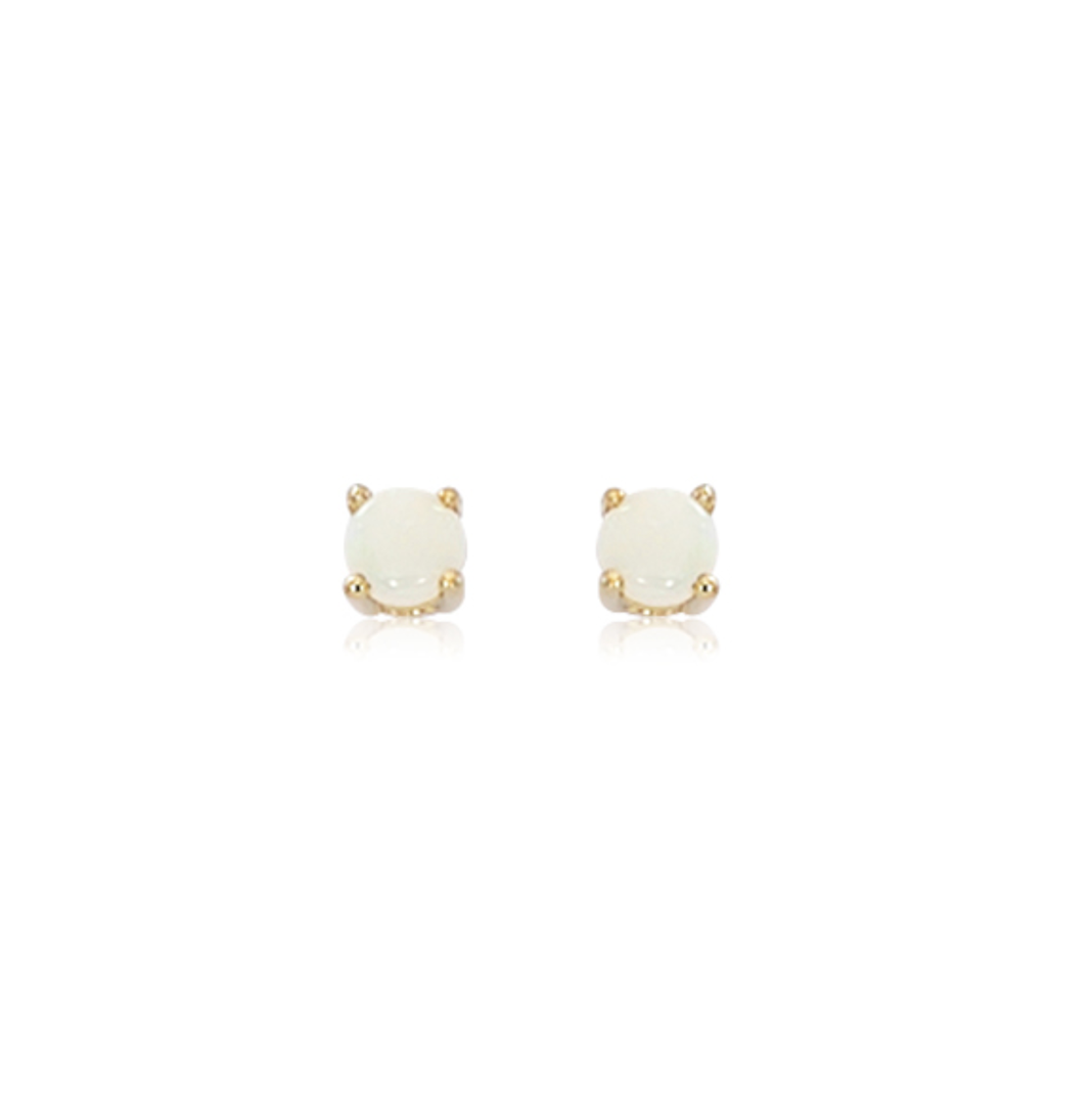 Tiny Classic Opal Gold Prong Set Stud Earrings
