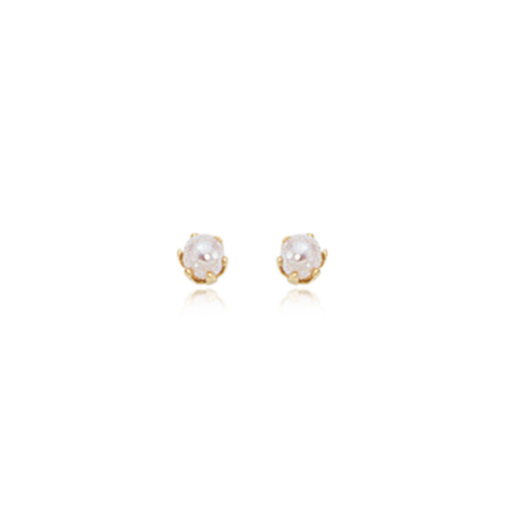 Tiny 3mm Pearl 6 Prong Gold Stud Earrings