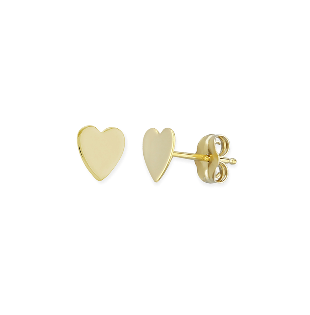 Small Flat Gold Plain Heart Stud Earrings