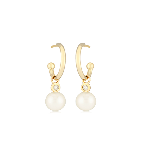 Dangle White Freshwater Pearl & Diamond Earrings