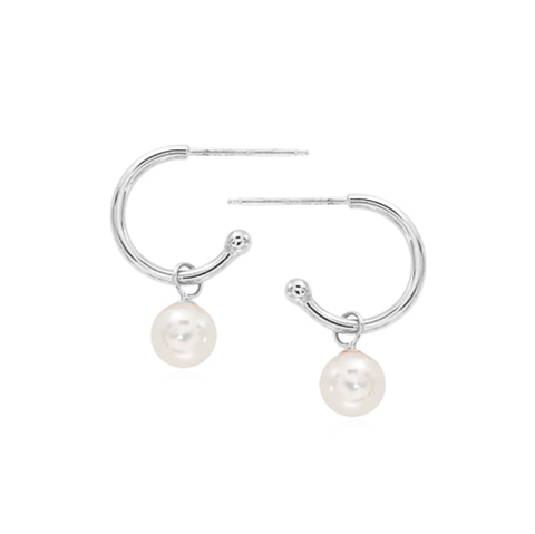 White Freshwater Pearl Hoop Earrings