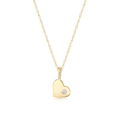 Diamond Accent Heart Polish Gold Pendant