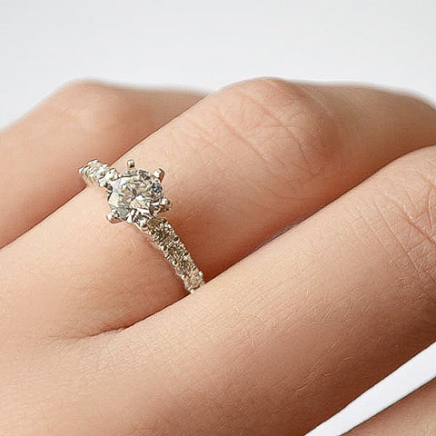White Round Prong Set Diamond Engagement Ring