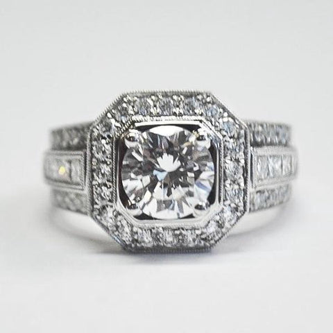 Passion White Geometric Halo Engagement Ring with Diamonds
