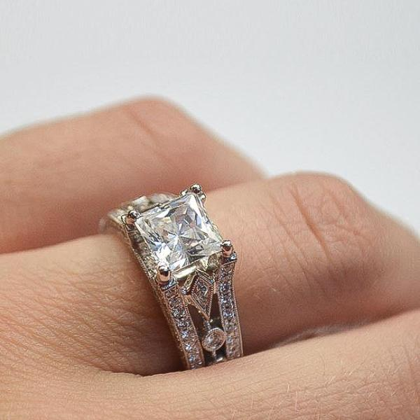 Geometric Engagement Ring with Diamonds