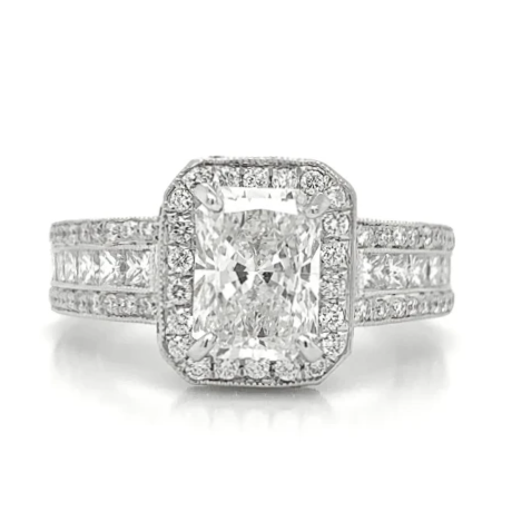 White Rectangle Pave Milgrain Halo Ring with Radiant Cut Diamond