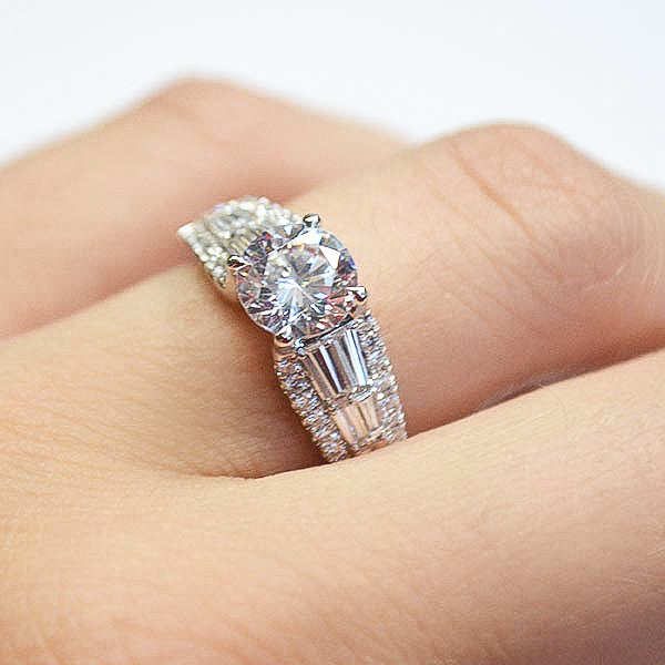 Nocturnal Sophistication White Round & Baguette Diamond Engagement Ring