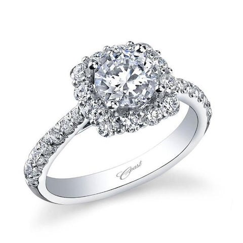 Cushion Halo White Engagement Ring with Diamonds