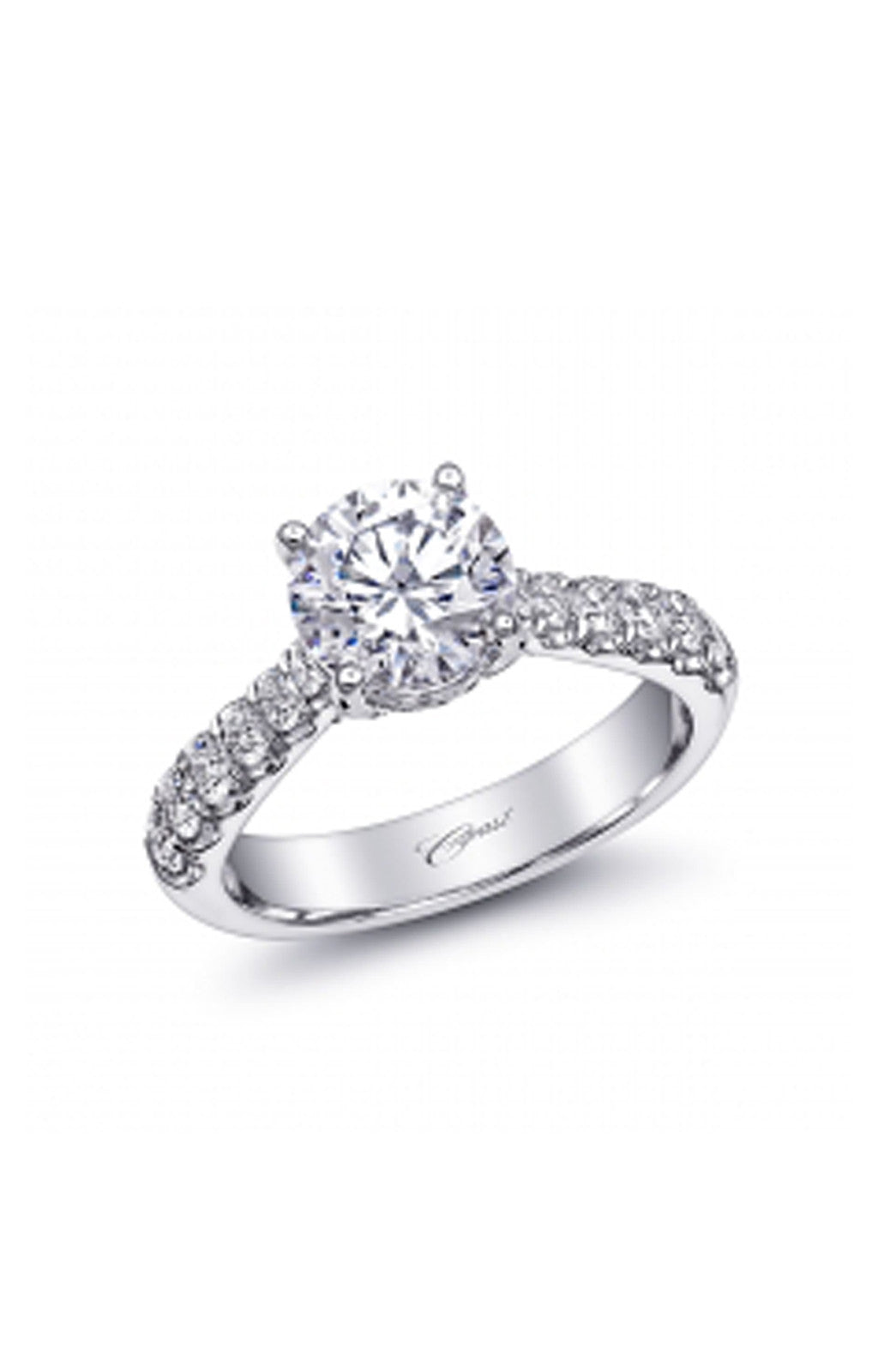 Fishtail White Engagement Ring with Diamonds
