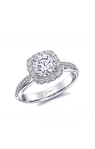 Fishtail Cushion White Engagement Ring with Diamonds