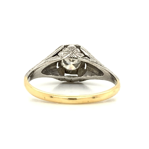 White & Yellow Gold Antique 1930s Euro Cut Diamond Ring