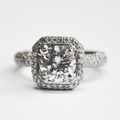 White Diamond Octagon Double Halo Engagement Ring with 3 Row Pave Shank
