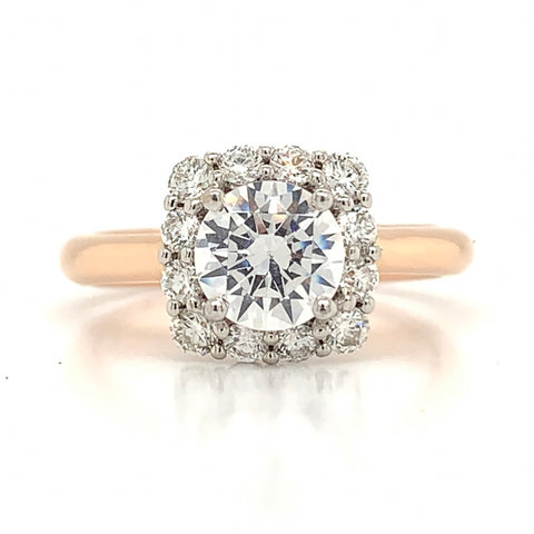 Diamond Cushion Shape Halo Ring with Plain Shank