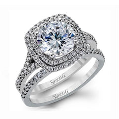 Passion White Double Halo Engagement Ring with Diamonds