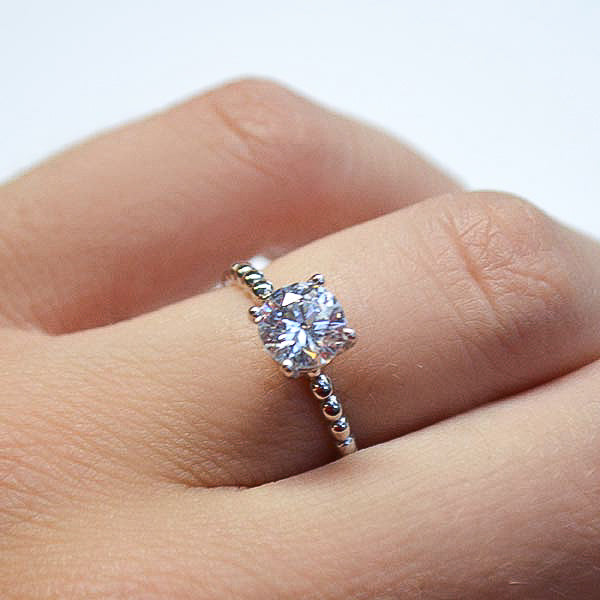 White Beaded Solitaire Engagement Ring