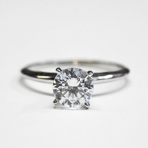 White Classic Thin 4 Prong Solitaire Engagement Ring