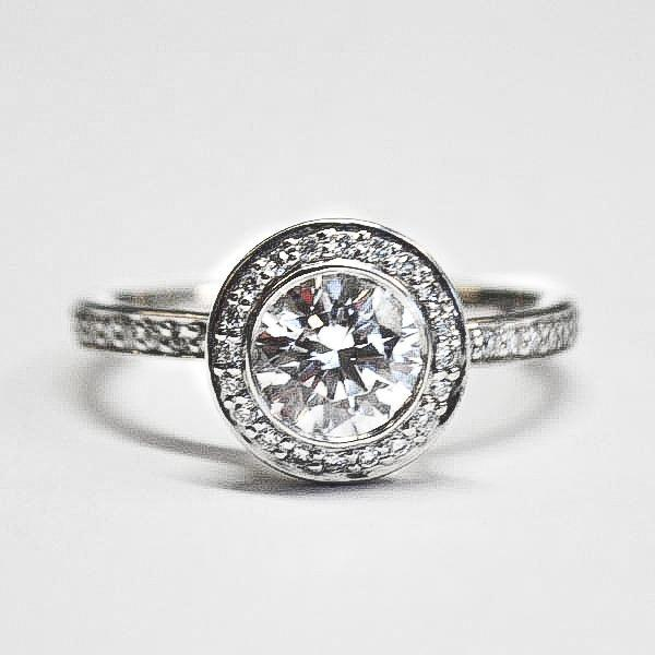 White Pave Round Bezel Diamond Engagement Ring