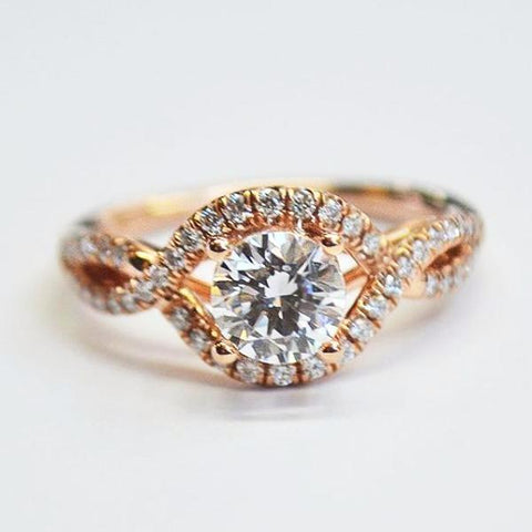 Rose Interlock Diamond Halo Ring
