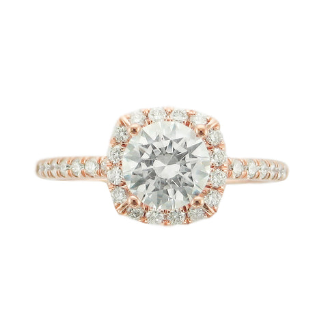 Rose Delicate Halo Ring with Diamonds