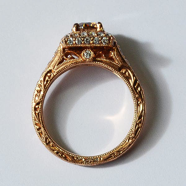 Rose Vintage Square Halo Ring with Champagne Diamond
