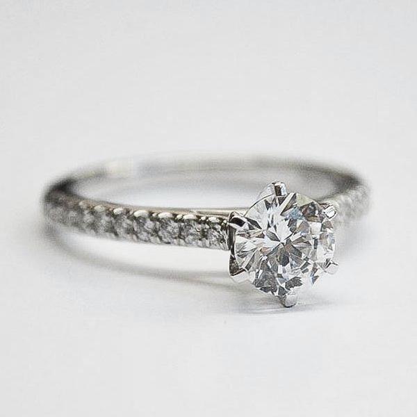 White Fishtail Pave Diamond Ring