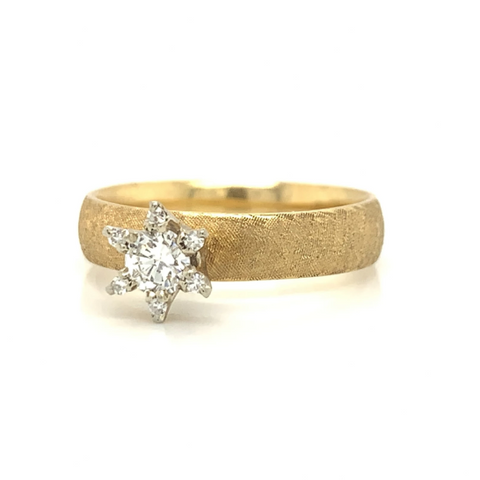 Yellow Gold Florentine Finish Star Diamond Ring