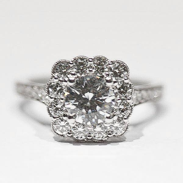 White Scalloped Milgrain Cushion Halo Diamond Ring