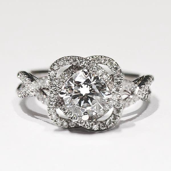 White Pave Flower Twist Halo Diamond Ring