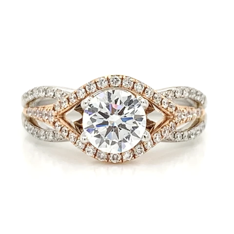 White and Rose Pave Twist Open Halo Engagement Ring