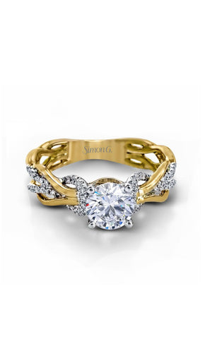Classic Romance White and Yellow Twisted Engagement Ring with Diamonds