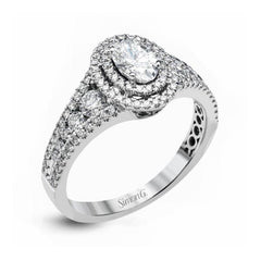 Passion White Double Halo Oval Engagement Ring with Diamonds