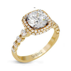 Passion Yellow Double Halo Engagement Ring with Diamonds