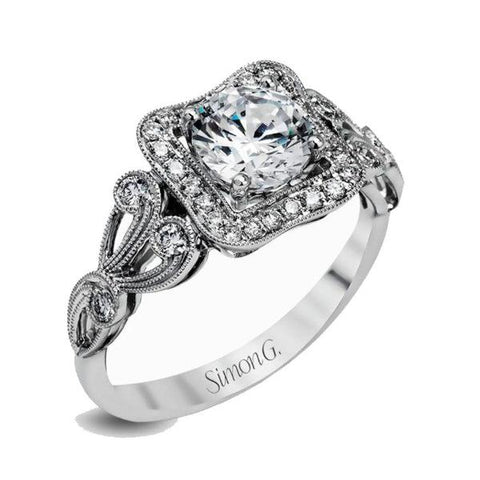 Passion White Concave Halo Swirl Milgrain Engagement Ring with Diamonds
