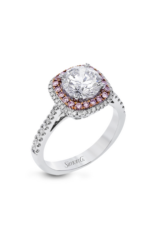 Passion White and Rose Double Halo Engagement Ring with Diamonds